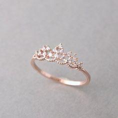 PRINCESS TIARA RING ROSE GOLD ENGAGEMENT TIARA RING COSTUME JEWELRY #RoseGoldJewellery