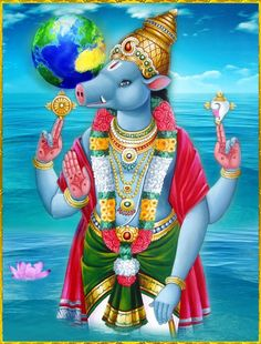 "Varaha Avatar Story - The third avatar of Lord Vishnu is the Varaha Avatar. Varaha meaning ""boar"" in Sanskrit, which he took in the Satya Yug to protect the earth. Tanjore Painting, Krishna Painting, Krishna Art, Shiva Art, Hanuman Images, Lord Krishna Images, Avatar, Lord Balaji, Lord Vishnu Wallpapers"