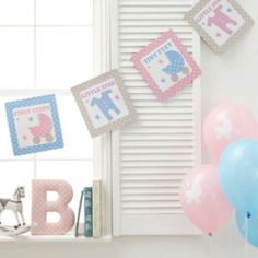 Baby shower bunting great for a baby shower and can be used in a nursery from www.fuschiadesigns.co.uk