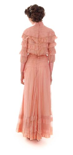 Rose pink cotton organza two piece dress, style popular ca. 1905-1908