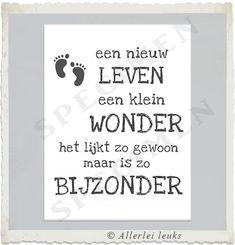Mooie tekst kaart, Wenskaart met quote geboorte wonder