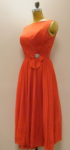 Hey, I found this really awesome Etsy listing at https://www.etsy.com/listing/228732045/vtg-1950s-lipstick-red-chiffon-prom-gown