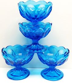 4 Anchor Hocking Aqua Blue Glass Ice Cream by Snowyowltreasures