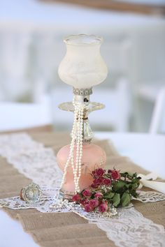 A touch of lace creates a romantic look for any piece of wedding decor. #laceweddings
