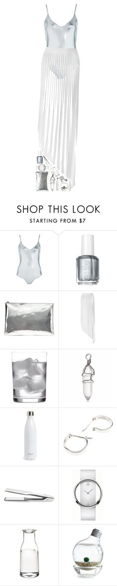 """The real metallic set with metallic swimsuit"" by veryidiot ❤ liked on Polyvore featuring Topshop, Essie, AB A Brand Apart, Vionnet, Deborah Ehrlich, S'well, Repossi, T3, Calvin Klein and Holmegaard"