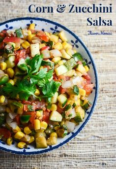 Corn and Zucchini Salsa is a perfect summer recipe to use up those tomatoes, zucchinis and corn. It is delicious on salads and many other dishes.