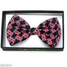 UK BRITISH/UNITED KINGDOM/ENGLAND RED,WHITE,BLUE ADJUSTABLE BOW TIE BOWTIE-NEW!1