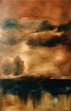 "Adam Hall  Burning Leaves  36""x 48""  Oil on canvas"