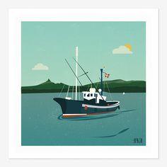 Affiche bateau avec drapeau basque passant devant la Rhune