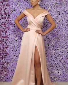 Charming V-neck Off Shoulder Long Split Evening Dress Satin Prom Gowns