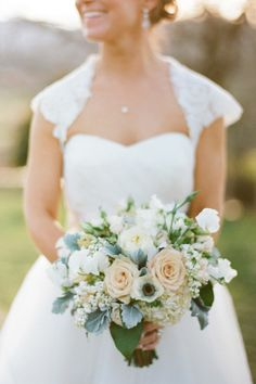 bouquet dusty miller | Peach and Cream Bouquet With Dusty Miller | Bridal Bouquets