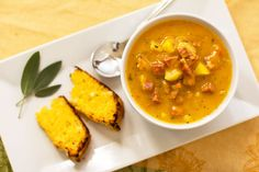 Sage Pumpkin Soup with Apple and Andouille from MJ's Kitchen Sage Sausage, Sausage Soup, Apple Sausage, Pumpkin Soup, Pumpkin Recipes, Slow Cooker Recipes, Soup Recipes, Gluten Free Cornbread, Light Recipes