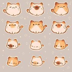 Cute Animal Drawings Kawaii, Cute Little Drawings, Kawaii Art, Dibujos Cute, Cat Stickers, Cute Chibi, Cute Little Animals, Cat Drawing, Cute Cartoon Wallpapers