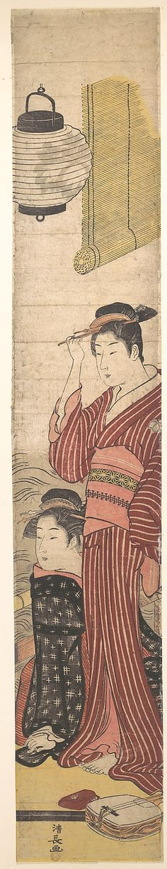 Two Geisha  Torii Kiyonaga  (Japanese, 1742–1815)  Period: Edo period (1615–1868) Culture: Japan Medium: Polychrome woodblock print; ink and color on paper
