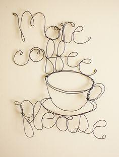 More Coffee Please wire art by Jennifer Swift