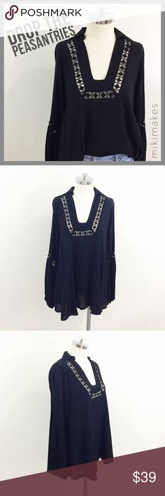 """🆕 LEMON CAKE • NWOT black boho peasant tunic • BRAND NEW without tags, black boho peasant top • oversized tunic length • square v-neck with small collar • black lace embroidery trim at the neck and sleeves • cuffs have elastic  ✂️  Bust = 44"""" ✂️  Waist = 56"""" ✂️  Length = 26""""  • sorry no trades • please feel free to ask any questions  ❤️ @mikimakes boutique Tops Tunics"""