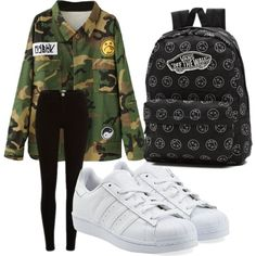 A fashion look from November 2015 featuring Escalier jackets, adidas Originals sneakers and Vans backpacks. Browse and shop related looks.