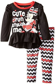 Disney Baby Girls Minnie Mouse Stripe Legging Set with High Low Top Black 12 Months