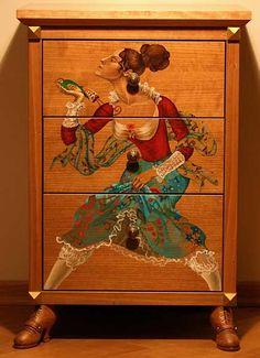 Комод – роспись мебели: китайский мотив
