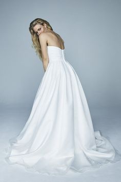 JUBILANT DRESS | Vow'd Weddings Off Shoulder Ball Gown, Off The Shoulder, One Shoulder Wedding Dress, She's A Lady, All The Way Down, Fitted Bodice, Ball Gowns, Fitness Models, Satin