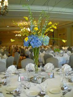 blue and yellow wedding centerpiece
