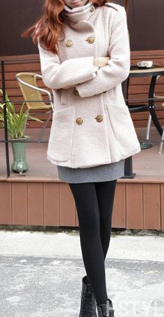 Ivory women coat with button wool women coat by happyfamilyjudy