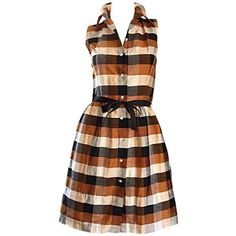 Preowned Isaac Mizrahi Vintage 1990s Does 1950s Brown & Black Plaid... (€505) ❤ liked on Polyvore featuring dresses, vintage, black, cocktail dresses, long plaid shirt dress, vintage cocktail dresses, brown cocktail dress, sleeveless dress and vintage silk dress