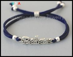 BELIEVE Bracelet - Silver Charm Bracelet on Faux Suede Leather Cord w/ Sliding Closure - Message Word Inspiration Charm Bracelet - USA - sc