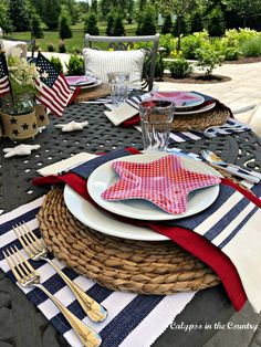 Fourth Of July Decor, 4th Of July Decorations, 4th Of July Party, July 4th, Table Decorations, Centerpieces, Blue Patio, Blue Flag, White Napkins