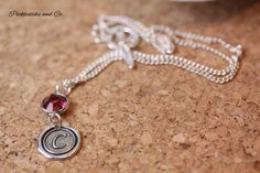 Necklace Monogram C Raspberry Pink Connector by PickleStiksandCo, $30.00