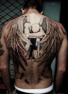 Engel Tattoo Plus Source by Wing Tattoo Men, Wing Tattoos On Back, Cool Back Tattoos, Upper Back Tattoos, Cool Tattoos For Guys, Trendy Tattoos, Unique Tattoos, Men Back Tattoos, Men Tattoos