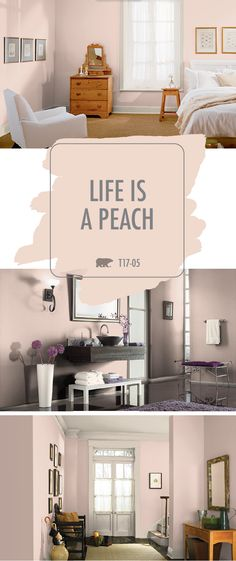 How will you use the rose gold hue of Life Is A Peach in your home? This modern interior paint color is full of glamour and chic style. Check out some sample color palettes from BEHR to see how you can incorporate this shade into your interior design. Fall Paint Colors, Interior Paint Colors, Paint Colors For Home, Room Interior, House Colors, Wall Colors, Peach Paint Colors, Behr Paint Colors, Pink Color
