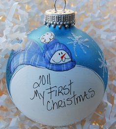 hand painted personalized baby's first Christmas by glassygirl21, $9.00