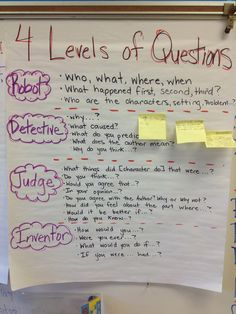 Levels of Questions Oh wow! It would be so helpful to show kids how to aim for better (and deeper) questions! It would be so helpful to show kids how to aim for better (and deeper) questions! Reading Lessons, Reading Skills, Teaching Reading, Guided Reading, Reciprocal Reading, Reading Tips, Reading Groups, Comprehension Strategies, Teaching Strategies