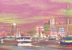 Hamburger Hafenskyline bei Sonnenuntergang