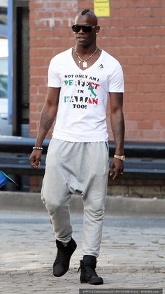 """a famous footballer, Mario Balotelli with those supposed """"picnic"""" pants on lol"""