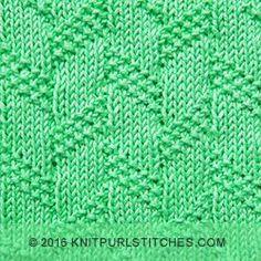De janeiro de 2016 - Diagonal Moss listra do ponto.  Grande teste padrão texturizado com apenas tricô e purl.  Perfeito para cobertores aconchegantes!