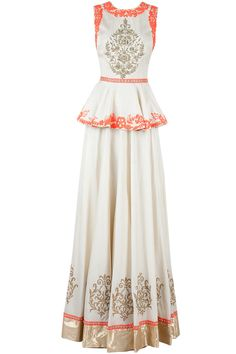 White and neon orange peplum lehenga set available only at Pernia's Pop-Up Shop.