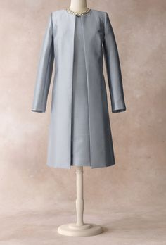 Brides.com: Talbots - Fall/Holiday 2012 . Duster, $249, and sheath dress, $189, Talbots  Browse more mother-of-the-bride dresses.