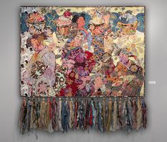 "Art Textile, 60""x60"", Gieshas and Cupcakes www.helmericks.com"