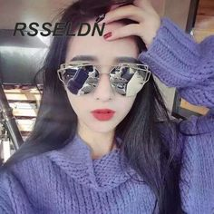 RSSELDN 2016 New Cat Eye Sunglasses Women Vintage Fashion Rose Gold Mirror  Sun Glasses Metal Frame 21029ace2d