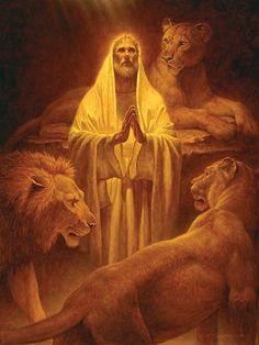 """Daniel in the Lion's Den. - Daniel 6:16-KJV, """"Then the king commanded, and they brought Daniel, and cast him into the den of lions. Now the king spake and said unto Daniel, Thy God whom thou servest continually, he will deliver thee."""""""