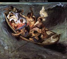 Christ on the Lake of Gennezaret (sketch) c. 1841 - Eugene Delacroix - www.eugenedelacroix.org
