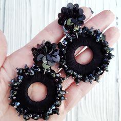 Black large clip-on earrings Fabric Earrings, Jewelry Design Earrings, Ear Jewelry, Fabric Jewelry, Beaded Earrings, Fashion Earrings, Earrings Handmade, Beaded Jewelry, Crochet Earrings