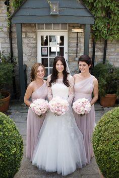 Baby Pink One Shoulder Bridesmaid Dresses | Pronovias Wedding Dress | Pastel Pink Colour Scheme | Rustic Barn | Almonry Barn Wedding Venue | Images By Julie Michaelsen | http://www.rockmywedding.co.uk/kat-alex/