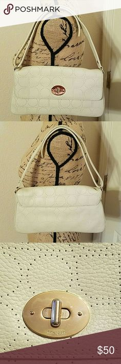 AUTHENTIC KATE SPADE IVORY SHOULDER PURSE ivory color, adjustable strap, clean , no tear or rips inside and out , strap drop from 7 to 13 inches kate spade Bags