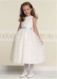 White Satin Bateau Sash Flower Girl Dress #wedding www.BlueRainbowDesign.com