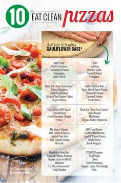 #EatClean #pizza topping combinations to try the next time it's #PizzaNight in your home. Fabulous on my Cauliflower Crust or a #wholewheat pizza crust! #eatcleandiet #eatingclean #toscareno #strikesugar