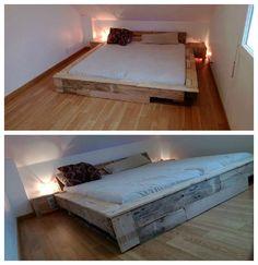 #PalletBed, #PalletFrame, #ReclaimedPallet Huge bed (size 190 x 180 cm) made from old and recycled wooden pallets.   Grand lit de 190 X 180 cm réalisé à partir de vielles palettes récupérées.