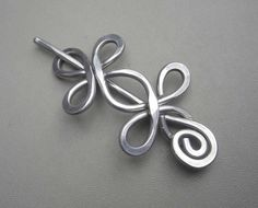 Celtic Double Crossed Loops Aluminum Shawl Pin, Hair Pin, Scarf Pin, Shrug Closure, Fastener, Sweater Brooch, Barrette - Aluminum Metal Wire
